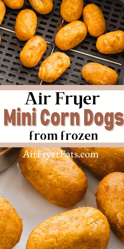 closeup view of mini corndogs in an air fryer basket