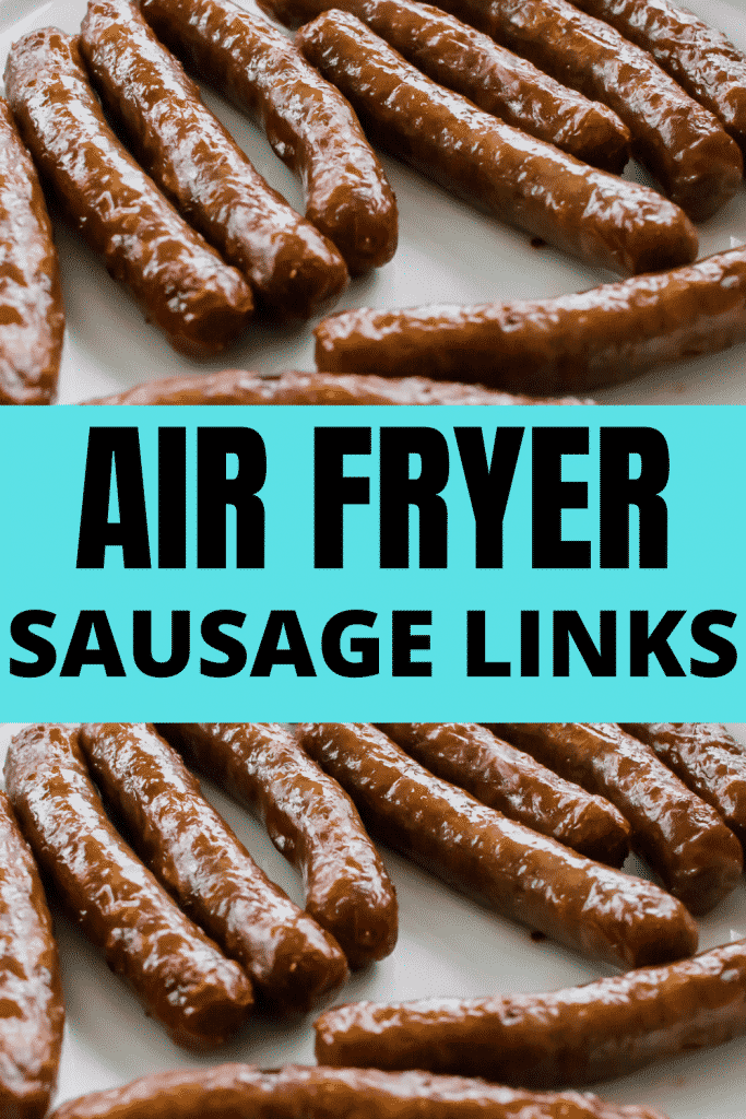 Closeup of cooked sausage links with pinterest title