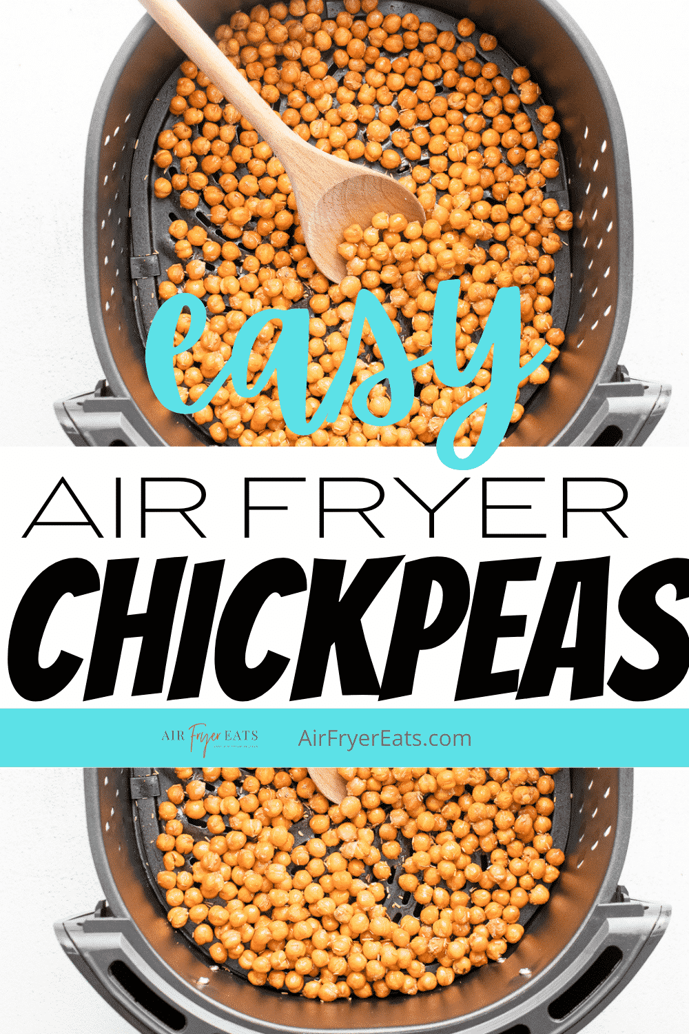 Air Fryer Chickpeas are seasoned with garlic and rosemary and roasted in the air fryer to create the perfect healthy snack. #airfryer #chickpeas via @vegetarianmamma