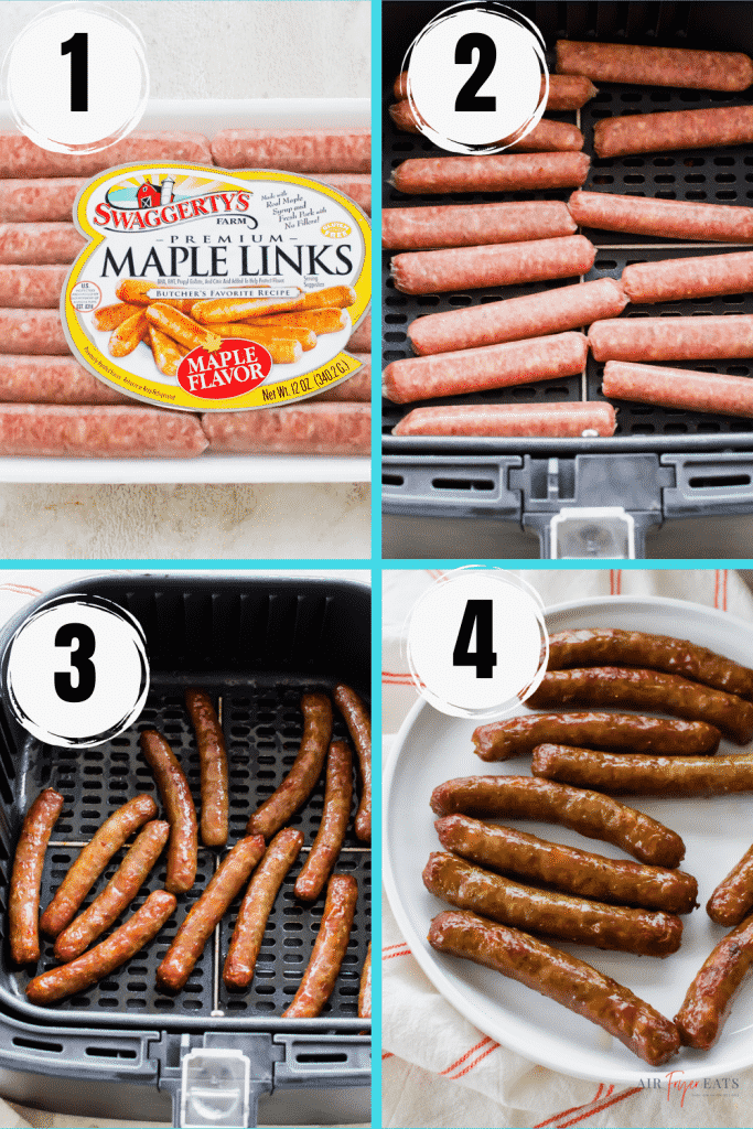 Photo collage of four steps to make air fryer sausage links