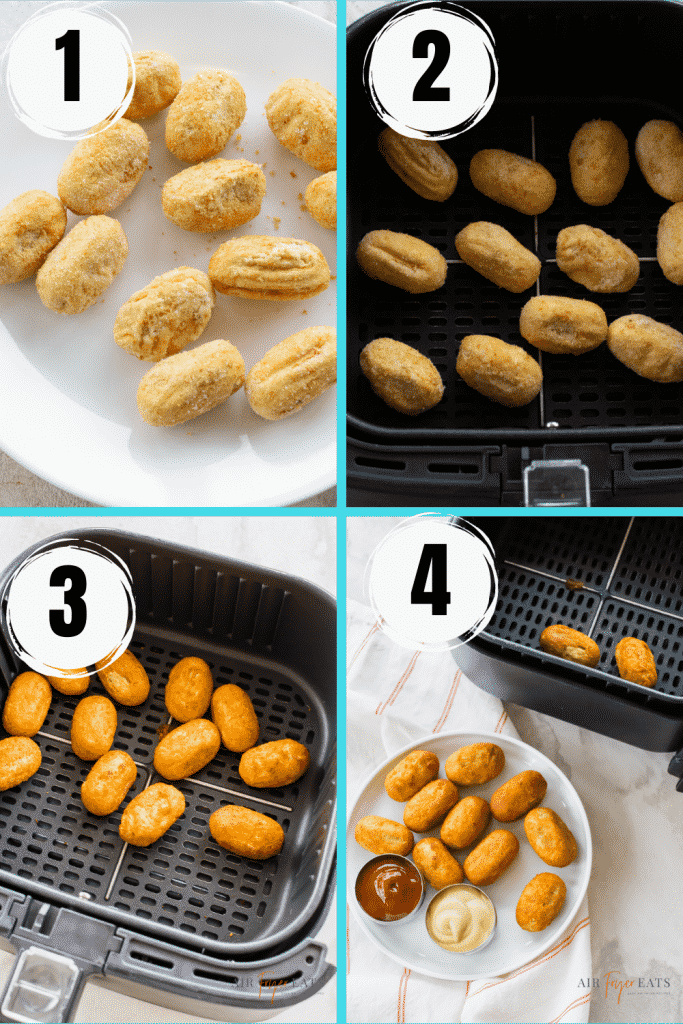 Photo collage of four steps to make air fryer mini corndogs