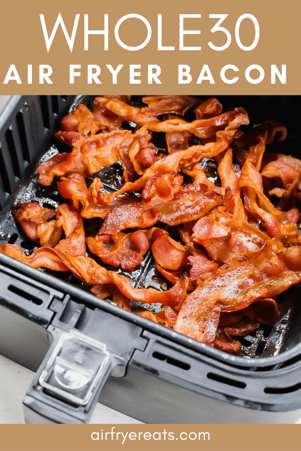 Air Fryer Bacon is a quick and easy recipe for the best crispy bacon! Once you cook bacon in your air fryer, you'll never go back to the old way again! #bacon #airfryer #airfryerbacon #crispybacon via @vegetarianmamma