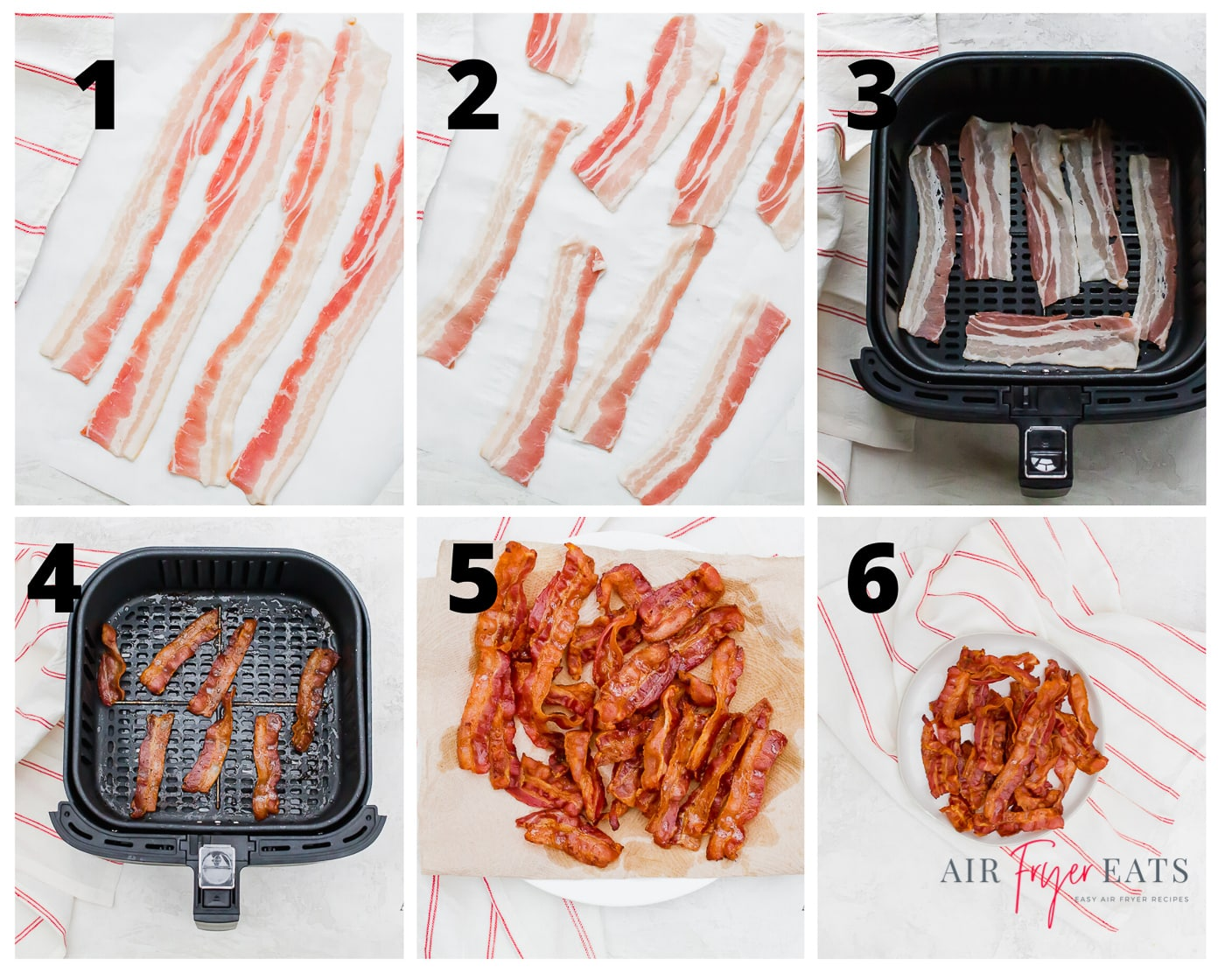 A collage of six photos showing how to make crispy bacon in an air fryer