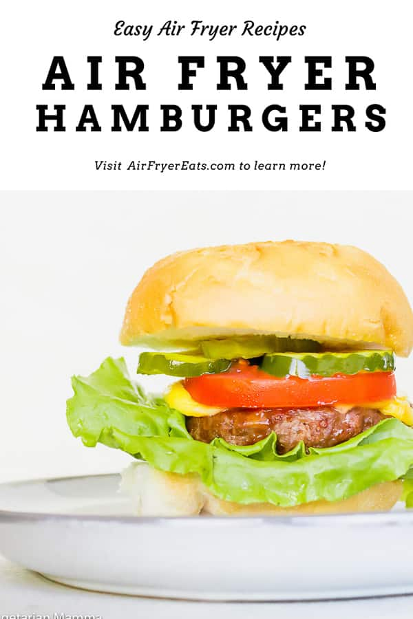 Next time you're craving a restaurant-style hamburger, let your air fryer do the work! In less than 10 minutes you'll have juicy, flavorful Air Fryer Hamburgers cooked to perfection right in your very own kitchen! #airfryer #hamburgers #cheeseburgers #burgers #airfryerrecipes via @vegetarianmamma