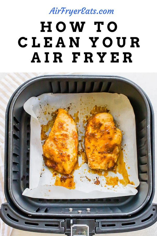 Image of two cooked chicken breasts in an air fryer basket with the text how to clean your air fryer