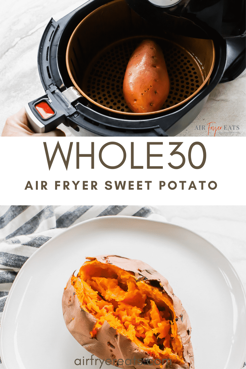 Cooking sweet potatoes doesn't have to be a daunting task when you have an air fryer in your kitchen! This Air Fryer Sweet Potato recipe results in fluffy, scrumptious sweet potatoes every single time! #sweetpotato #sweetpotatorecipes #airfryerrecipes via @vegetarianmamma
