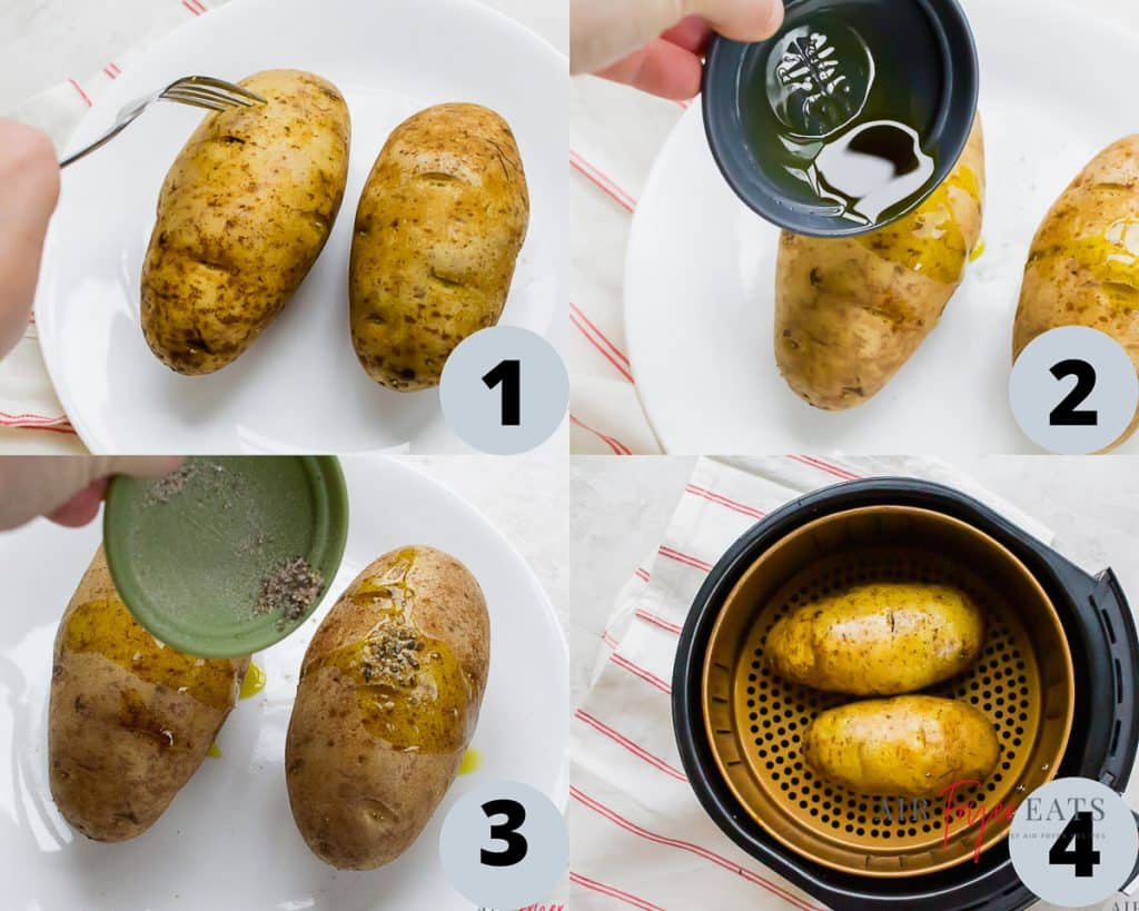 a collage of four images showing instruction for cooking baked potatoes in an air fryer