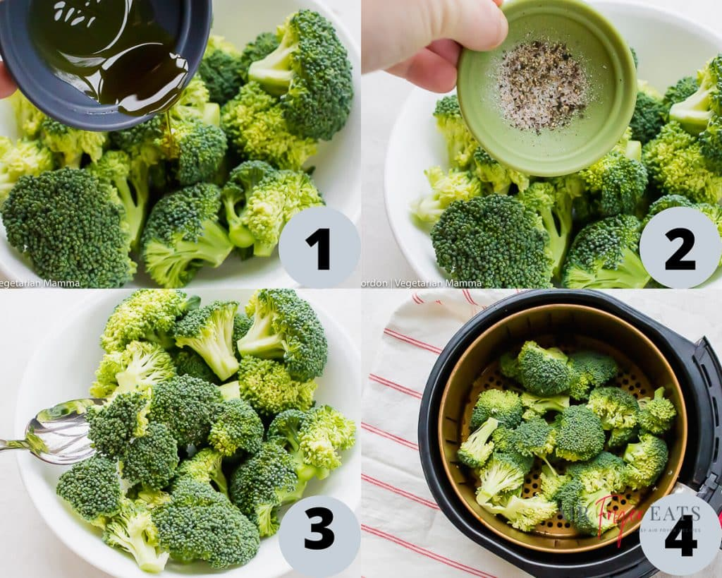 step by step collage pictures show how to make air fryer broccoli