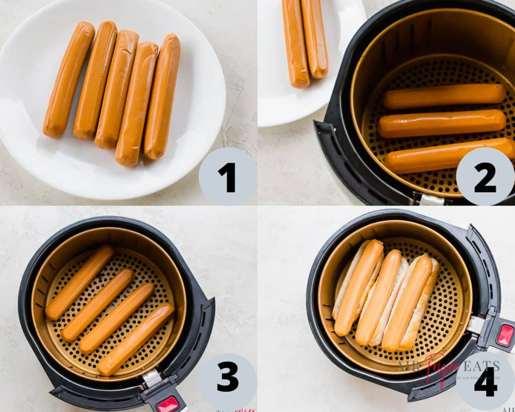 a collage of four photos showing instructions for cooking hot dogs in an air fryer