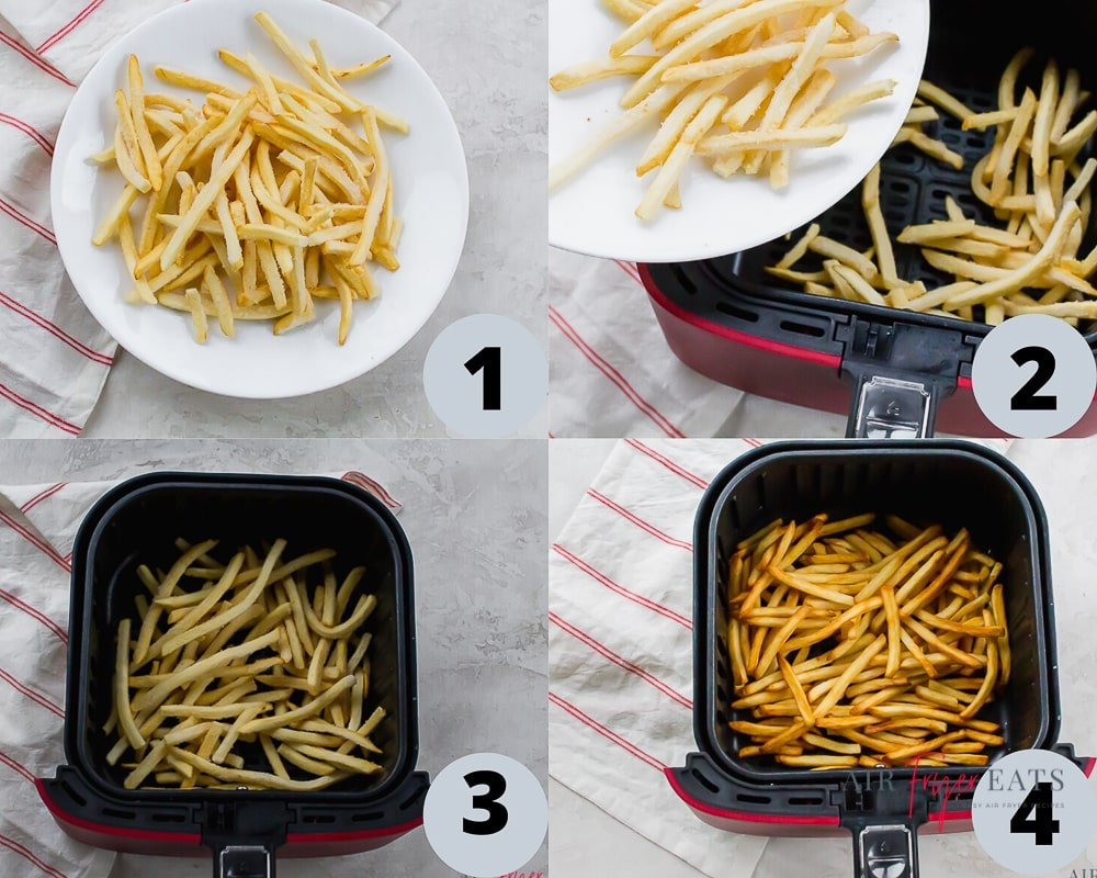 a collage of four images showing directions for cooking french fries in an air fryer