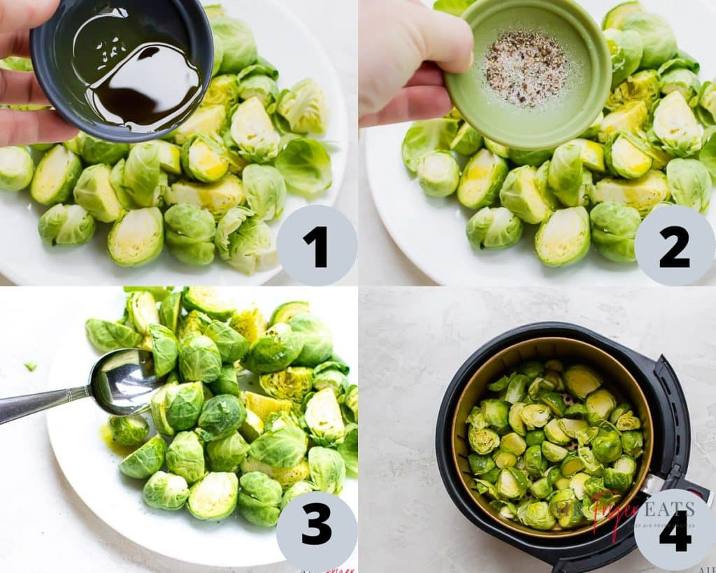 a collage of four images showing instructions for cooking brussel sprouts in an air fryer