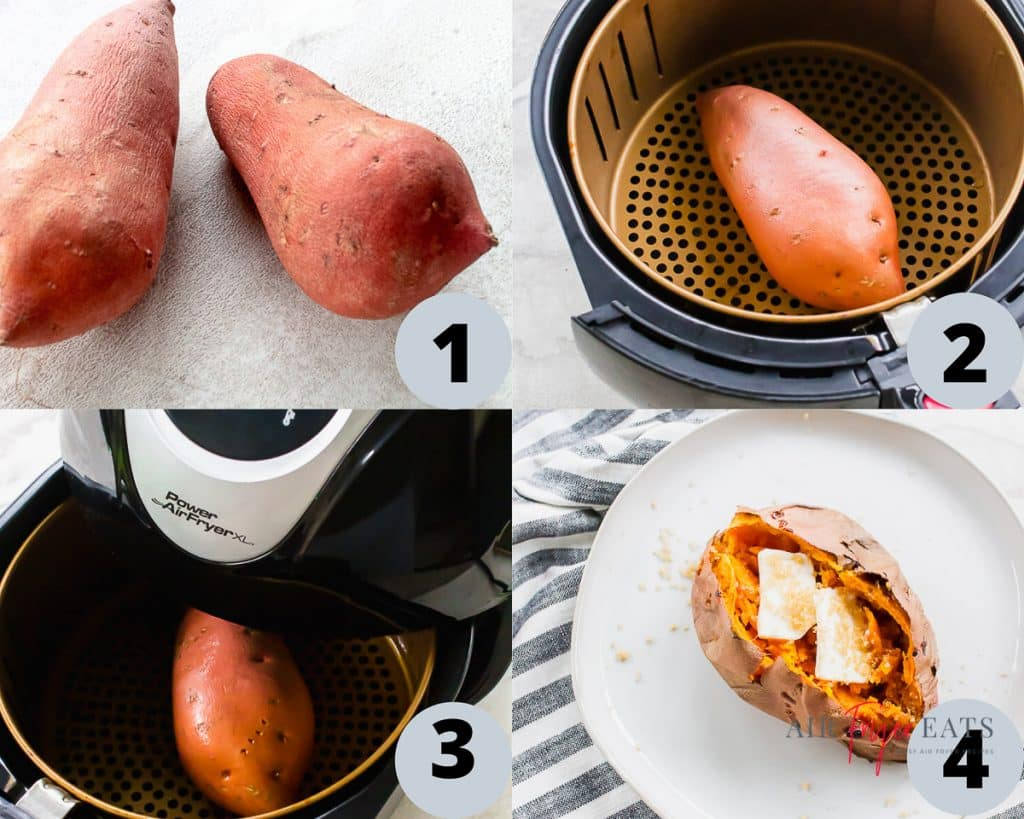 a collage of four images showing how to prepare and cook an air fryer sweet potato