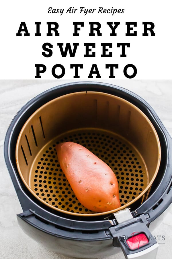 an air fryer sweet potato in an air fryer basket
