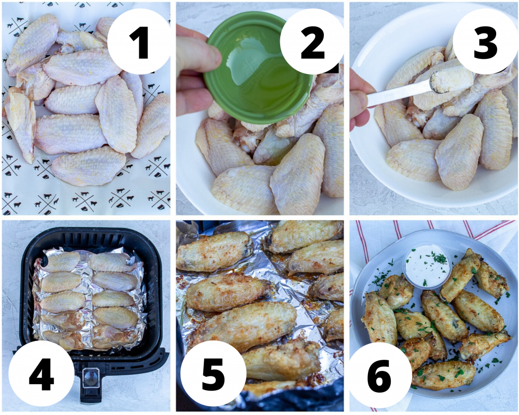a collage of six photos showing instructions for cooking chicken wing pieces in an air fryer