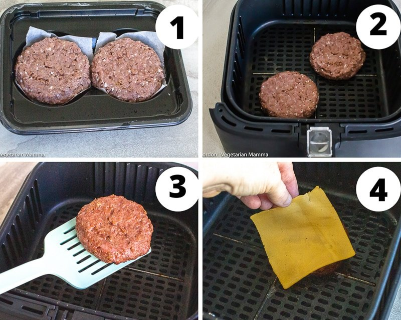 a collage of four photos showing steps for cooking hamburger patties in an air fryer