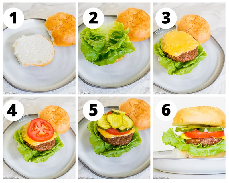 a collage of six photos showing how to assemble a cheeseburger with a bun, lettuce, tomato slice, and three pickle slices