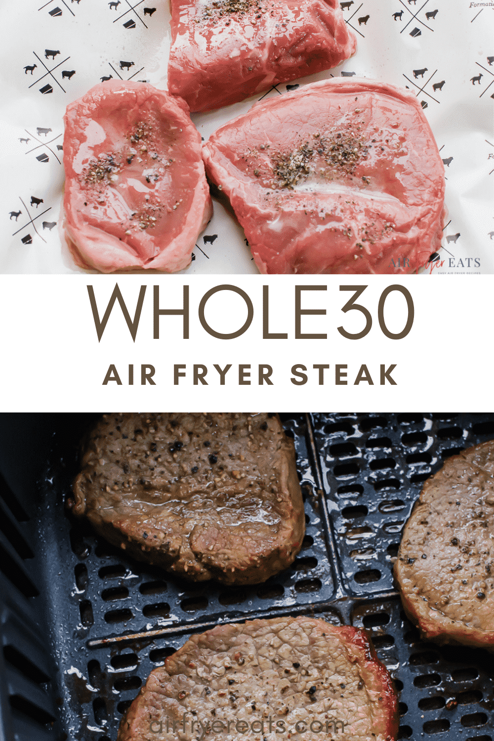 What's more satisfying than a perfectly cooked steak made right in your own kitchen? You'll go crazy for this easy 10 minute air fryer steak recipe! #airfryersteak #airfryer via @vegetarianmamma