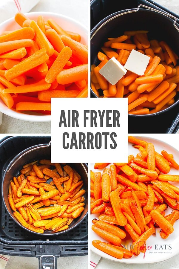 These Air Fryer Carrots are a snap to make in your air fryer. Air fried carrots are a quick and easy way to get a delicious vegetable side dish on your table in under 15 minutes. #airfryercarrots #carrotrecipe #airfryerrecipe via @vegetarianmamma