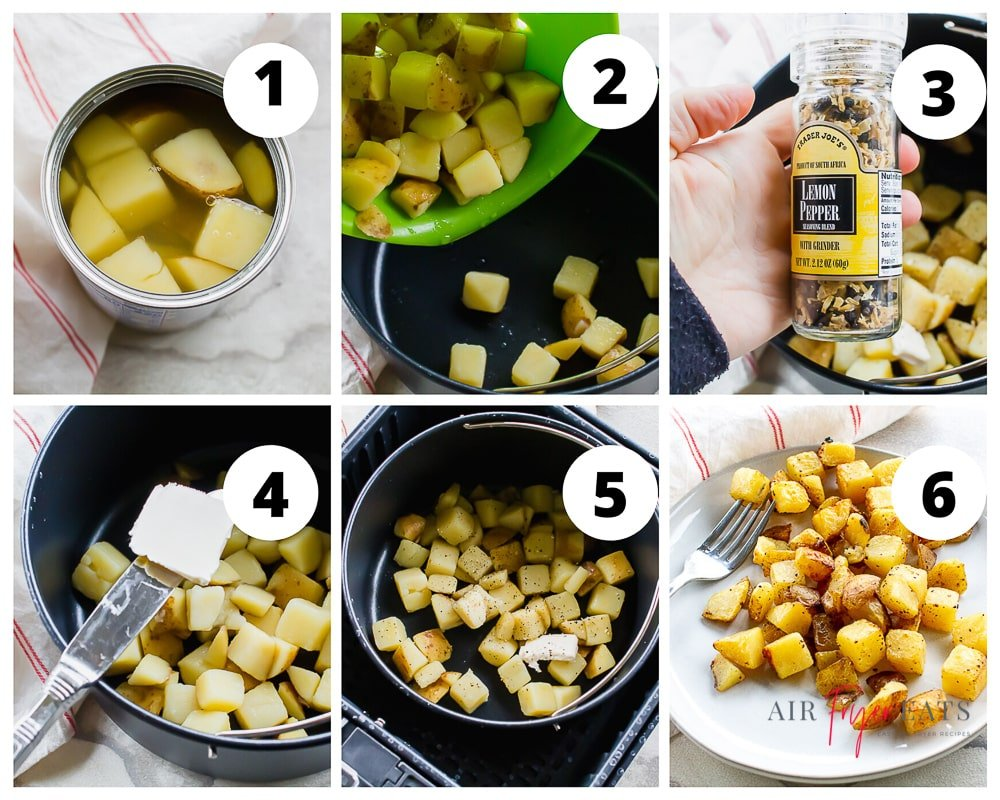 Air Fryer Potatoes from a can collage of pictures showing numbered steps 1 through 6