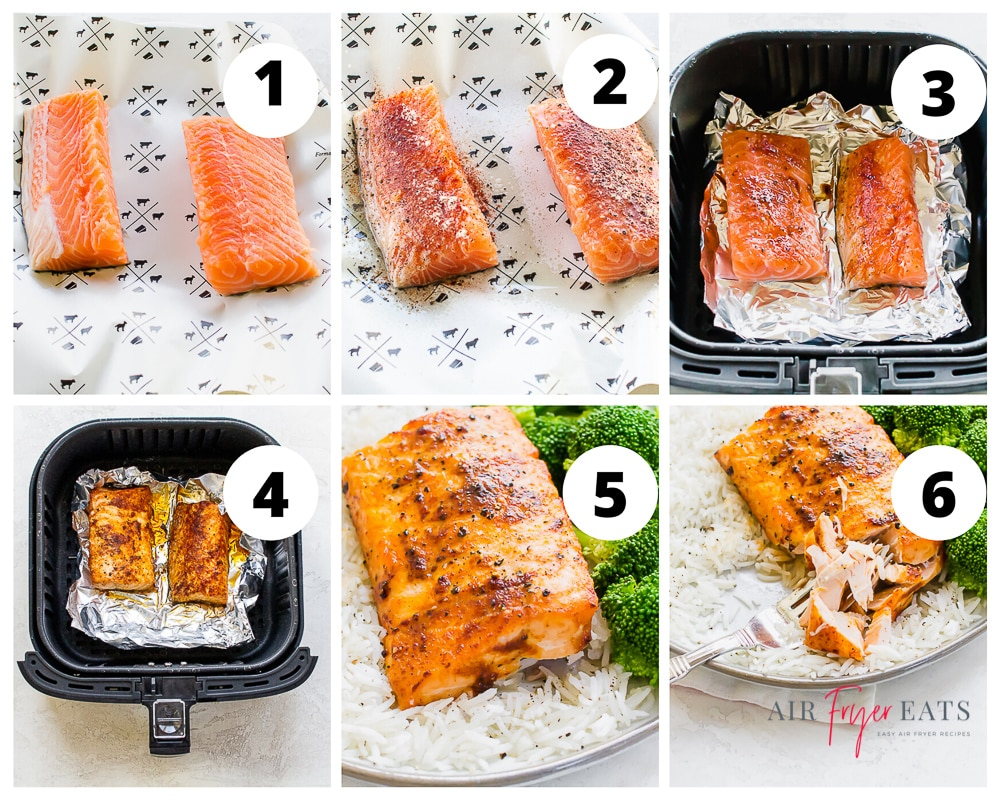 a collage of images showing instructions for cooking salmon in an air fryer