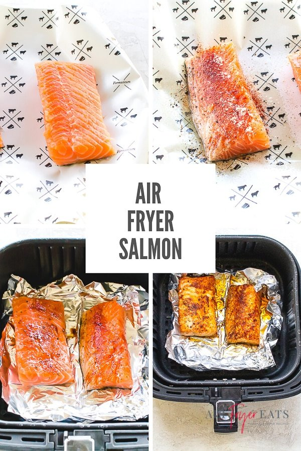 Why go out to a restaurant when you can have tender, flaky salmon right at home? You won't believe how easy it is to make this 10 minute Air Fryer Salmon! #airfryersalmon #salmon #airfryerrecipes via @vegetarianmamma