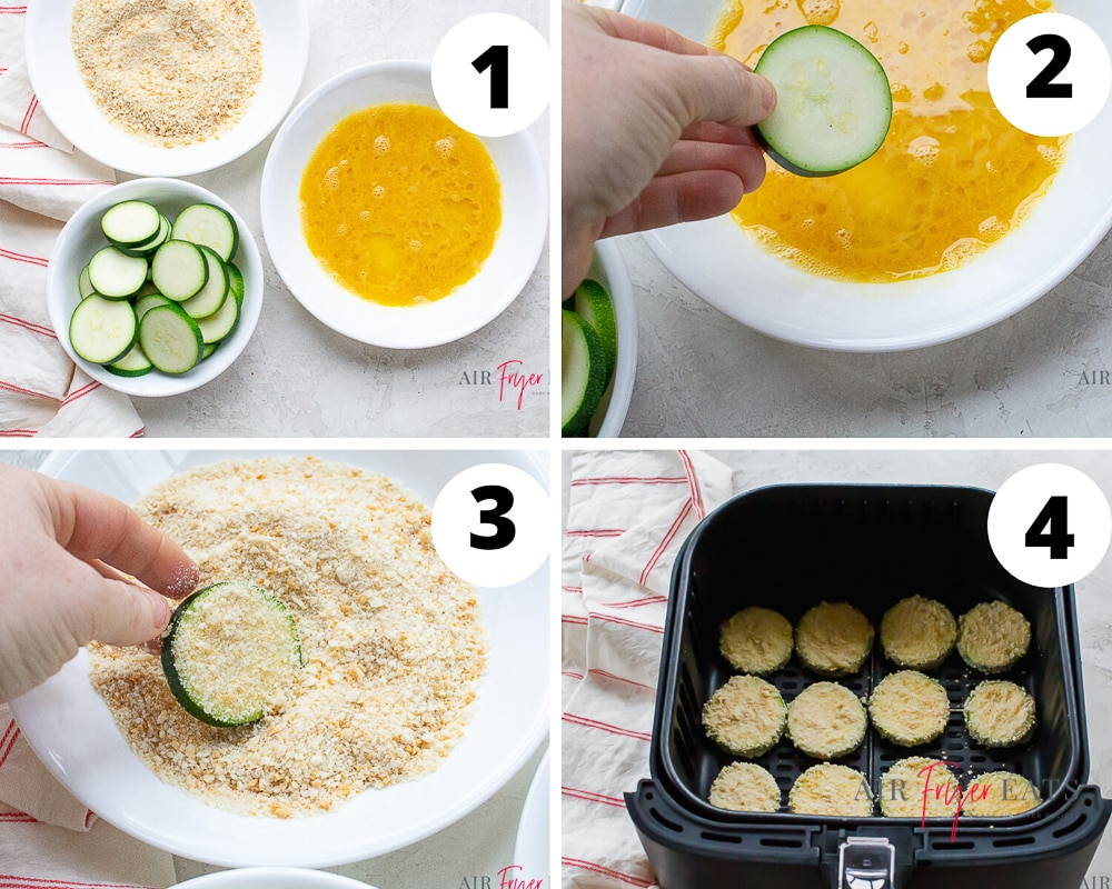 a collage of images showing how to air fry slices of zucchini