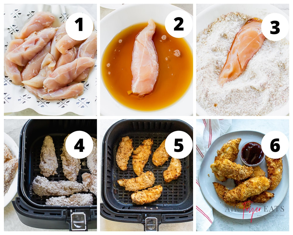 a collage of six images showing instructions for making chicken tenders in an air fryer