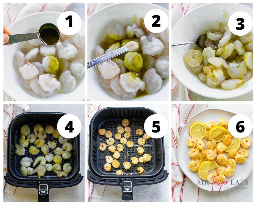 a collage of six images showing instructions for cooking shrimp in an air fryer