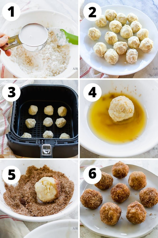 numbered steps to make donut holes in air fryer
