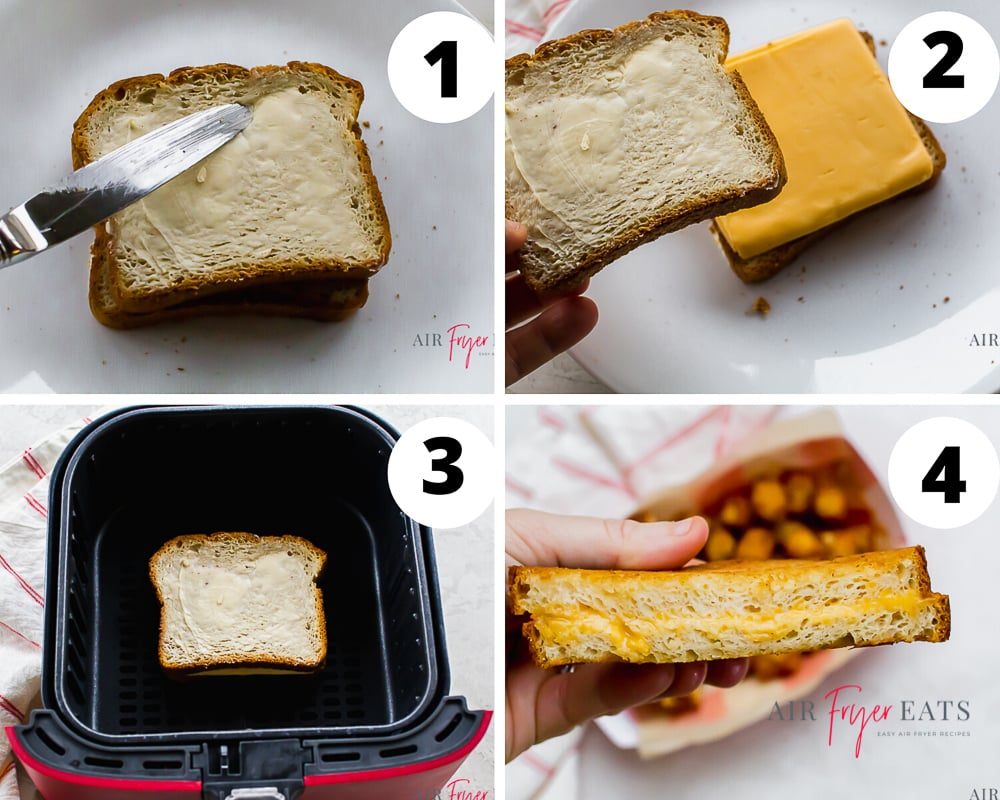 collage of four images showing instructions for making grilled cheese in the air fryer
