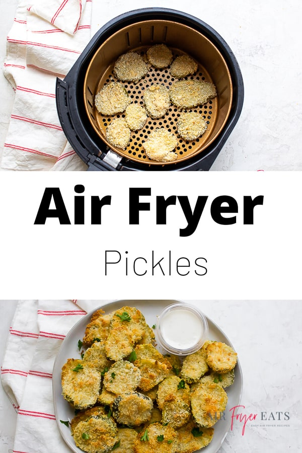 Is there anything more crave-worthy than a hot, crispy, juicy batch of fried pickles? These easy Air Fryer Pickles require only 3 ingredients and take less than 10 minutes to cook. via @vegetarianmamma