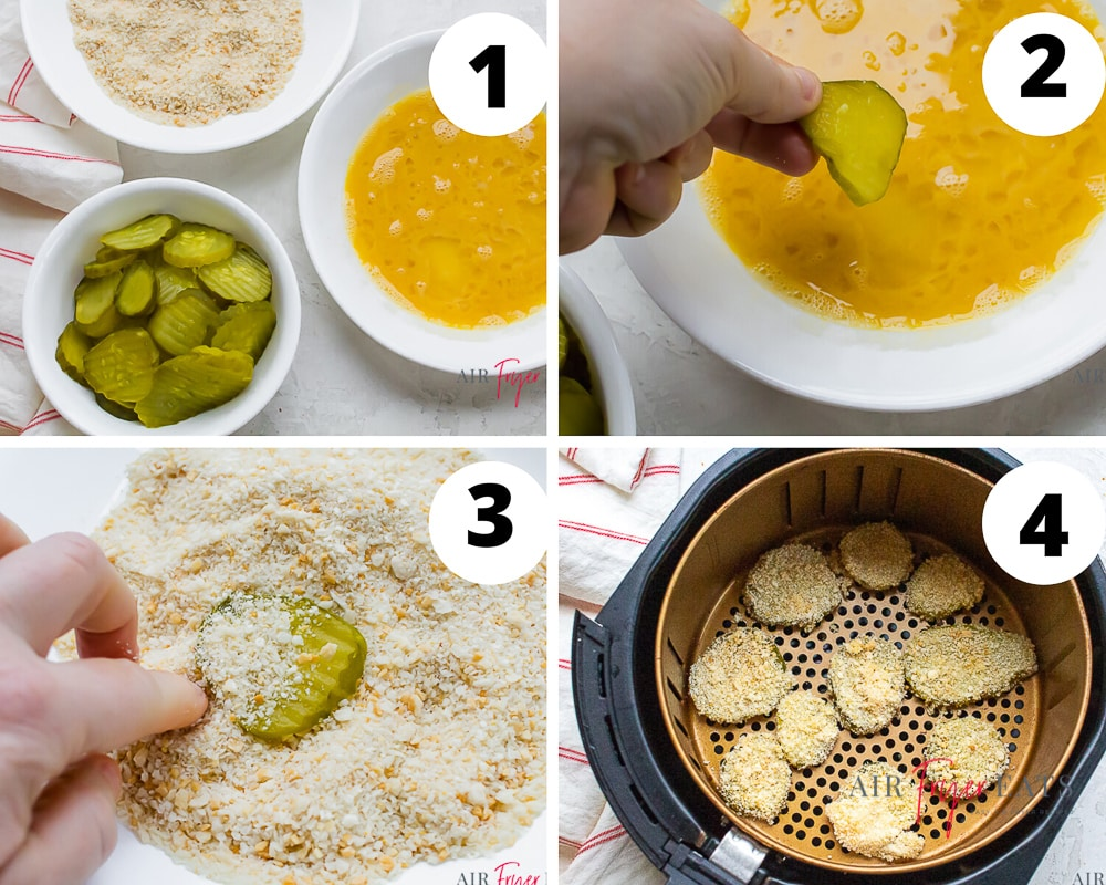 collage of photos showing the process for making air fryer pickles
