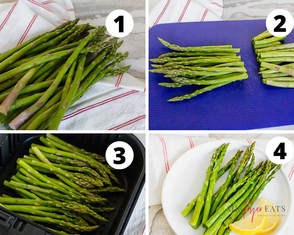 Step-by-step collage of air fryer asparagus
