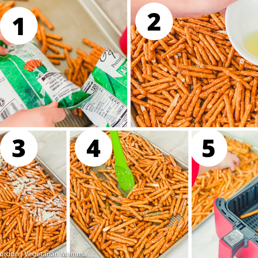 collage of 5 images that show the step by step directions for making air fryer seasoned pretzels