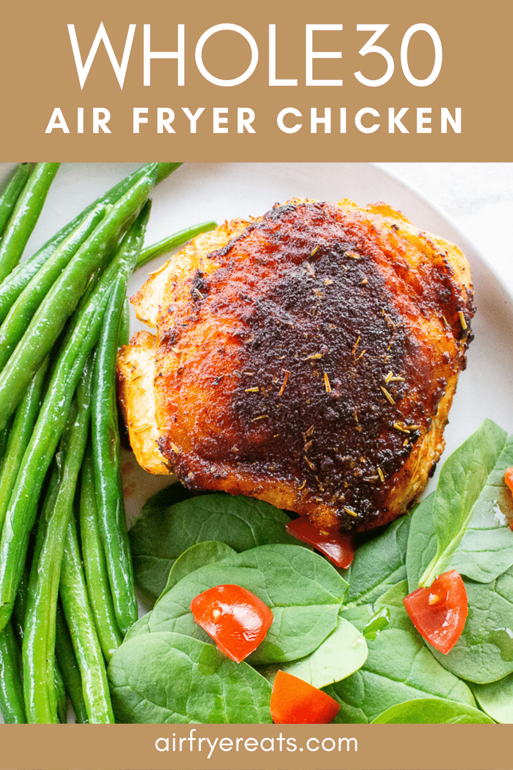 These Air Fryer Chicken Thighs are moist inside and crispy outside! This 30-minute meal is a family favorite made from simple pantry staples. #airfryerchickenthighs #chickenthighs #italianchickenthighs via @vegetarianmamma