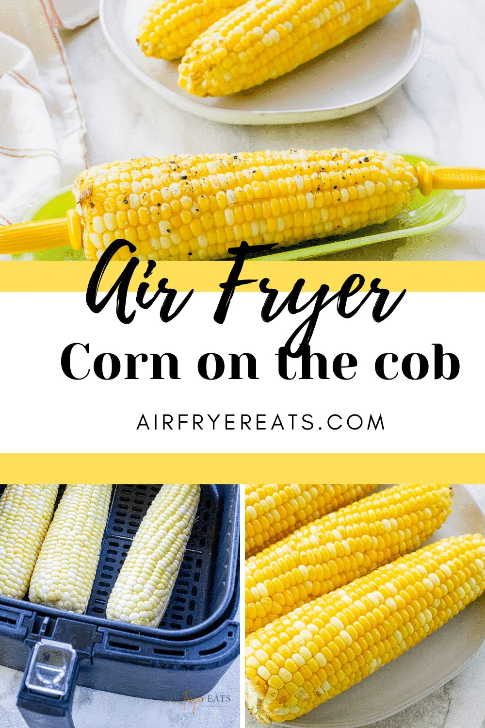 Air Fryer Corn on the Cob will become your new favorite air fryer recipe. Corn in the air fryer is cooked in under 10 minutes and provides a delicious roasted flavor. #airfryercorn #airfryercornonthecob via @vegetarianmamma