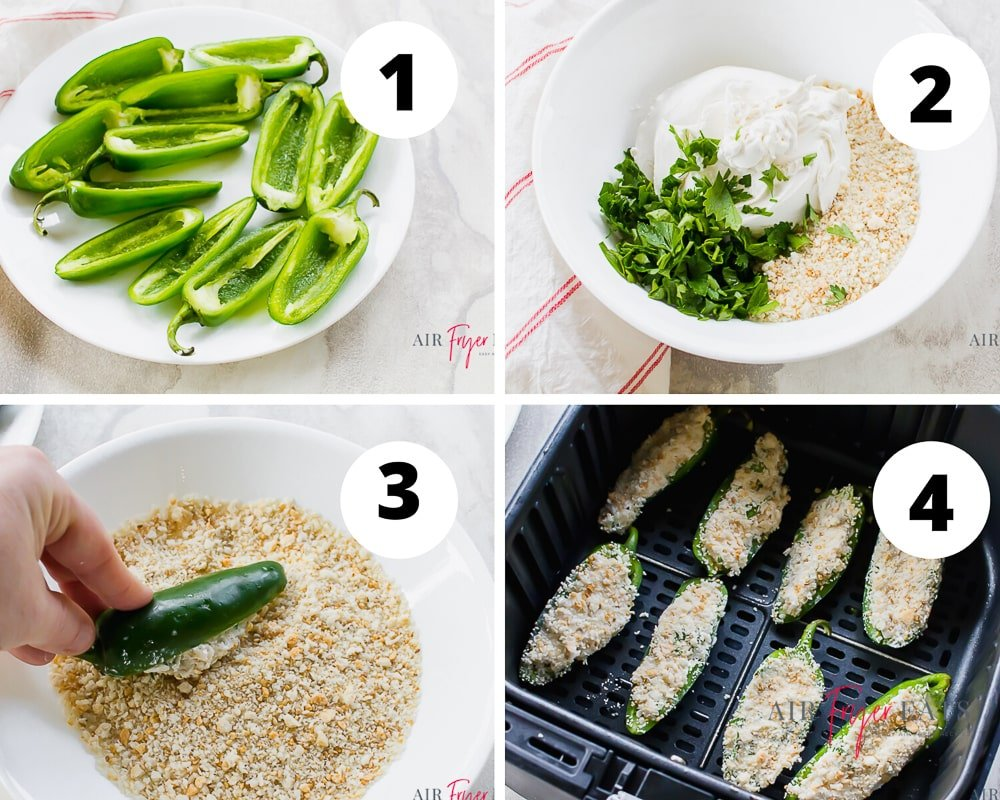 collage of four pictures explaining visually how to make air fryer jalapeno poppers. Picture 1 is of deseeded jalapenos that are cut in half, step 2 picture shows parsley, cream cheese and breadcrumbs in a white bowl. Picture 3 shows a jalapeno being dipped in bread crumbs and the fourth picture is of the stuffed jalapeno poppers in a black air fryer basket.