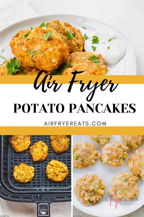 These crispy Air Fryer Potato Pancakes are the perfect next-day dish for leftover mashed potatoes! Try them as a side dish for dinner or brunch! #mashedpotatopancakes #airfryerpotatopancakes #leftoverpotatopancakes via @vegetarianmamma