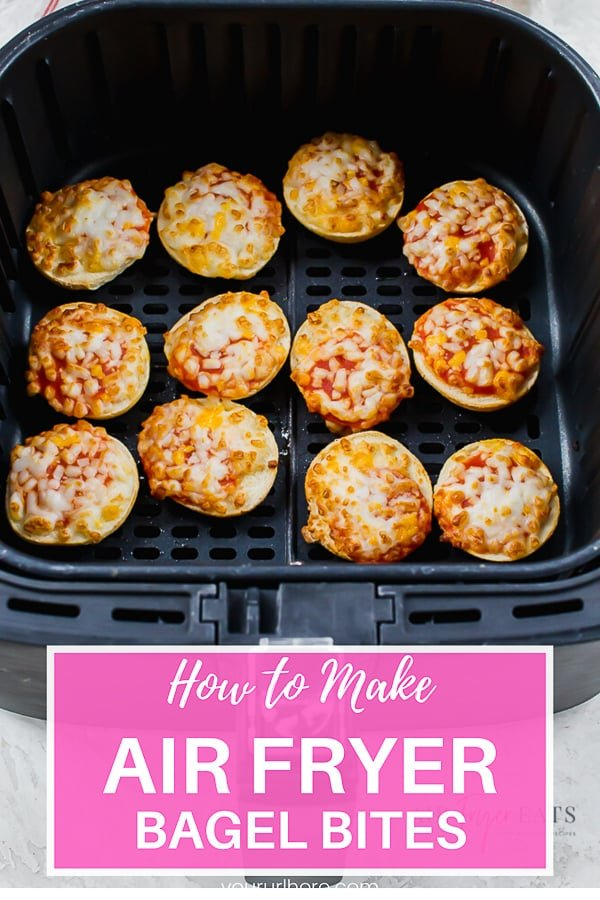 Frozen Bagel Bites in the air fryer are a quick and easy snack your entire family will love. Just pop them into the air fryer and in less than 6 minutes you'll be snacking! #airfryerrecipes #frozenfoods #bagelbites via @vegetarianmamma