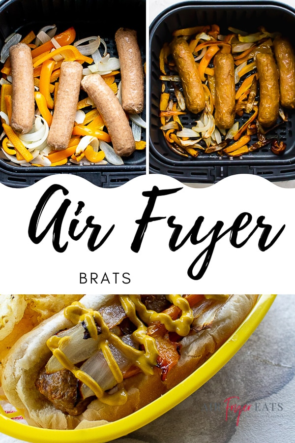 These Air Fryer Brats are cooked to perfection with onions and bell peppers for the perfect sandwich or main dish! Try these next time you're missing the ballpark snacks! #airfryerbrats #airfryerbratwurst #bratsandwich via @vegetarianmamma