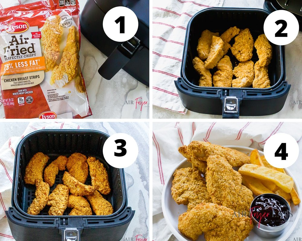 Collage of four pictures showing the process of cooking frozen chicken strips in the air fryer. It shows a tyson air fried chicken bag next to an air fryer, uncooked strips in a black air fryer basket and cooked strips in a black air fryer basket. The last and fourth picture is cooked strips with steak fries on a white plate.