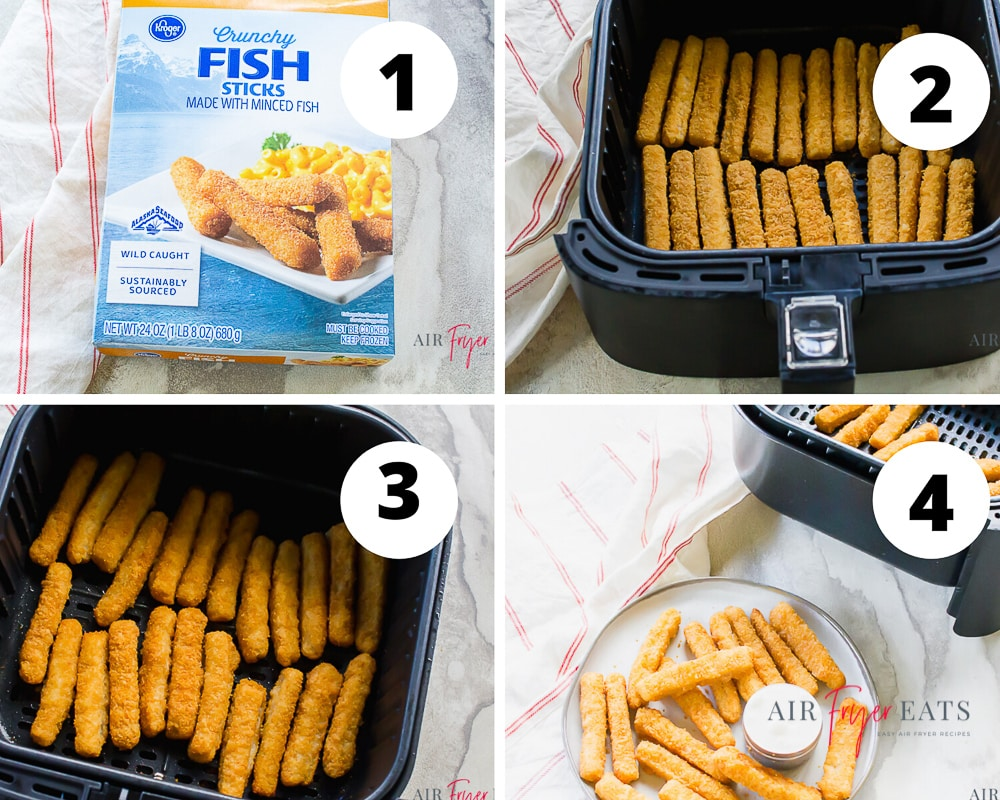 collage picture of four pictures showing the steps to make air fryer fish fishes. First picture is of a fish sticks box. Second picture is uncooked fish sticks in black air fryer basket, third picture is cooked fish sticks in air fryer basket. Fourth picture is fish sticks on white plate.