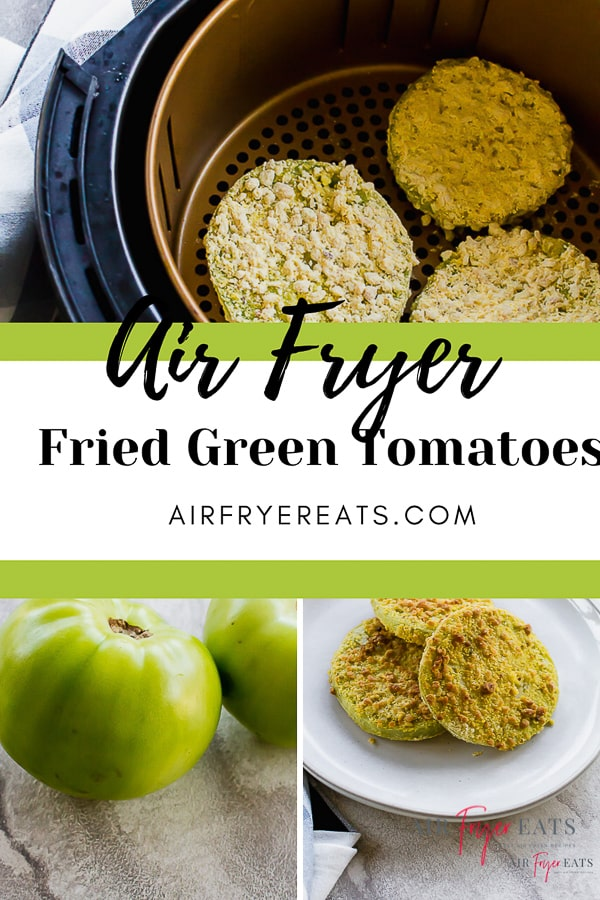 Air Fryer Fried Green Tomatoes are a delicious way to use up your tomatoes. These air fried green tomatoes are not only tasty, but they are crispy and perfect for dipping into your favorite sauce! #airfryertomatoes #airfryerrecipes #friedgreentomatoes via @vegetarianmamma