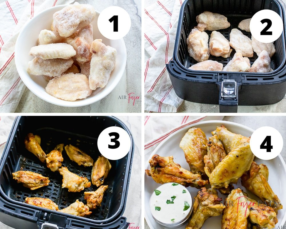Collage of four pictures showing how to make frozen chicken wings in the air fryer. Picture 1 is in the left top corner shows frozen chicken wings in white bowl. Picture two is top right color has frozen wings in air fryer basket. Picture 3 is bottom left with cooked chicken wings in black air fryer basket. Picture 4 is bottom right with cooked chicken wings on white plate with a cup of ranch sauce.