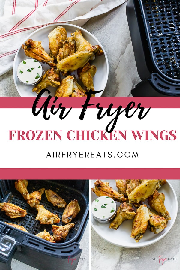 Air Fryer Frozen Chicken Wings are a quick and easy appetizer you can make in a snap. Just throw the frozen chicken wings in the air fryer and let the cooking magic begin! #airfryerwings #frozenchickenwings #airfryerchickenwings via @vegetarianmamma