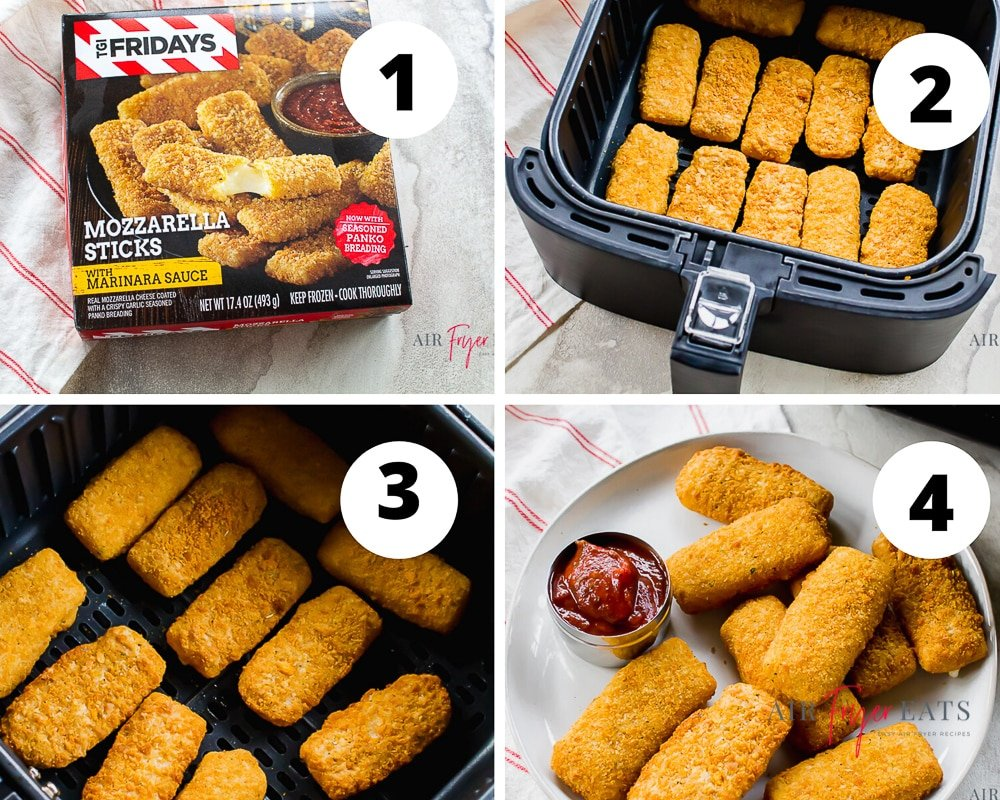 four picture collage of how to heat mozzarella sticks in air fryer