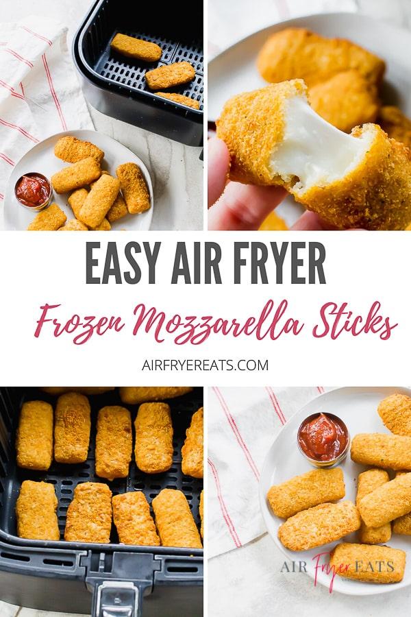 Air Fryer Frozen Mozzarella Sticks are going to make your think twice about ever using your oven again! Making frozen mozzarella sticks in the air fryer is a breeze! #airfryermozzarellasticks #gameday #mozzarellasticks via @vegetarianmamma