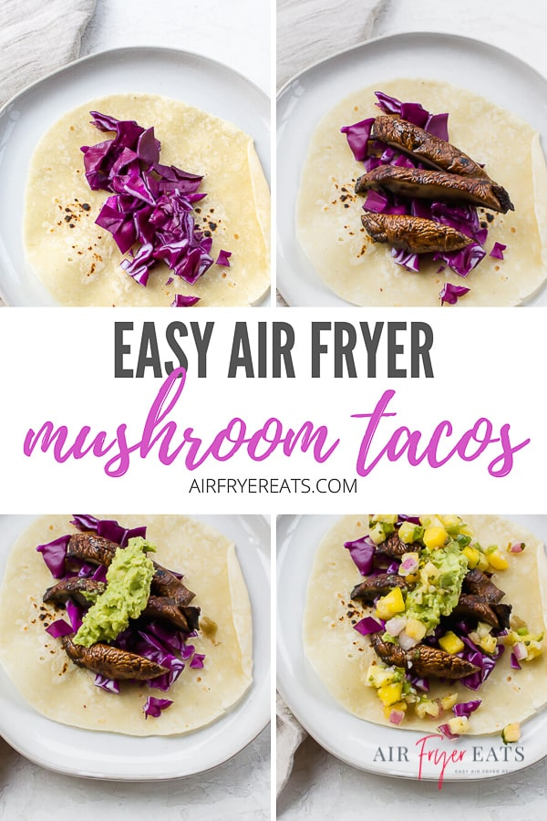 Combine Meatless Monday and Taco Tuesday with these Air Fryer Mushroom Tacos! Juicy portobello mushrooms and your favorite toppings mean dinner in a flash! #airfryermushroomtacos #vegetariantacos #vegantacos via @vegetarianmamma