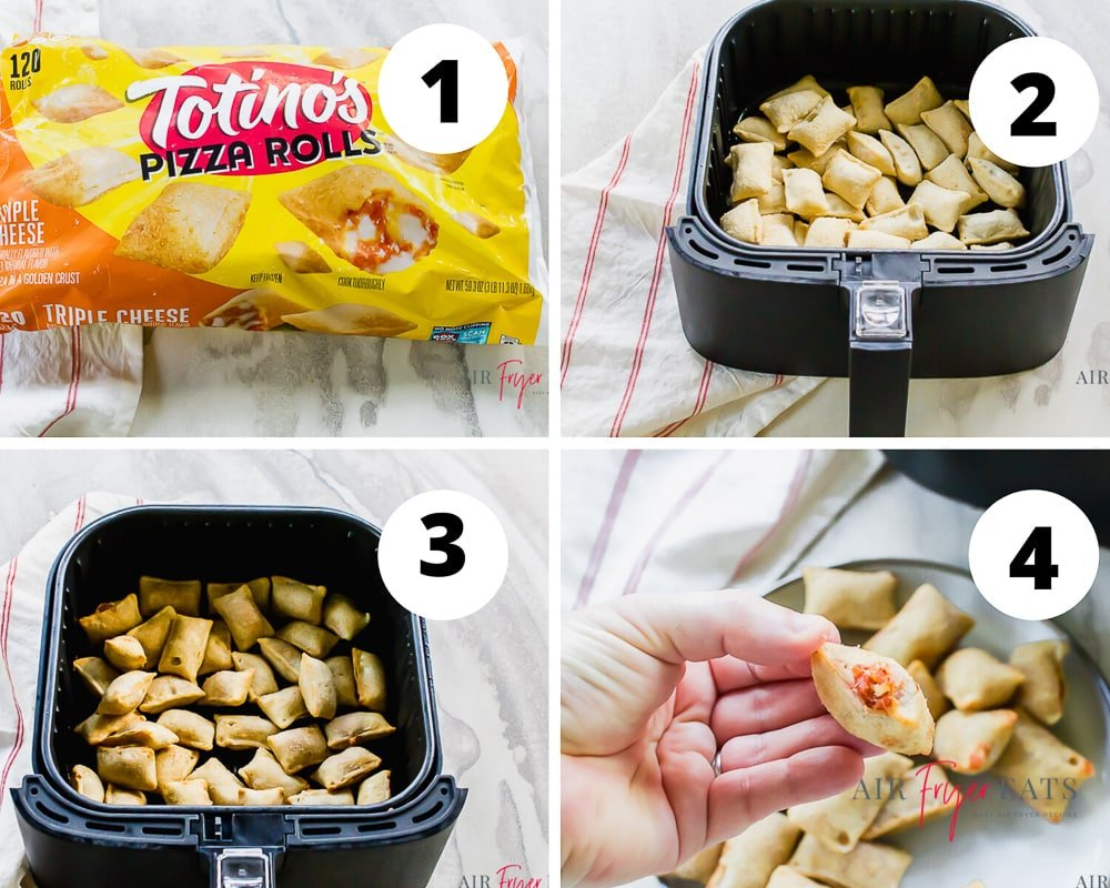 collage of 4 pictures showing how to make pizza rolls in air fryer. Picture 1 shows a titinos bag of rolls, picture 2 shows uncooked pizza rolls in air fryer basket, picture 3 shows cooked pizza rolls in air fryer basket and picture 4 shows an delicious exploded pizza roll.