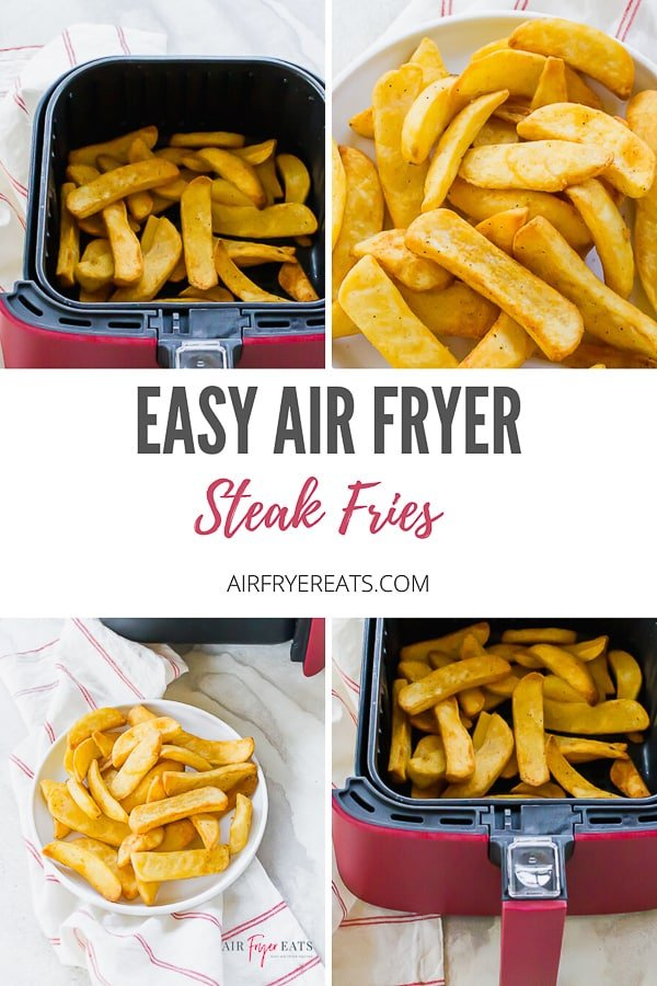 Air Fryer Steak Fries is a delicious potato snack that will make you dream about your favorite steakhouse dinner! Just pop these frozen steak fries into the air fryer and in 25 minutes they are ready! #airfryerfries #friesinairfryer #steakfries via @vegetarianmamma